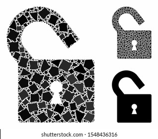 Unlock mosaic of rough pieces in various sizes and color hues, based on unlock icon. Vector rough items are combined into collage. Unlock icons collage with dotted pattern.
