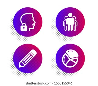 Unlock system, Group and Pencil icons simple set. Halftone dots button. Pie chart sign. Access granted, Managers, Edit data. Presentation graph. Science set. Classic flat unlock system icon. Vector