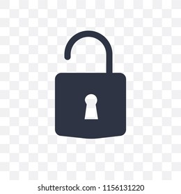 Unlock vector icon isolated on transparent background, Unlock logo concept