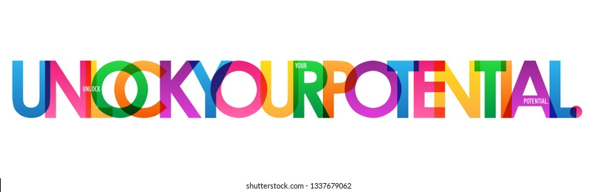 UNLOCK YOUR POTENTIAL colorful typography banner