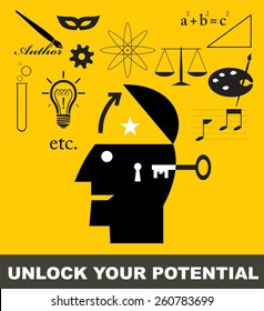 unlock your potential. vector illustration of unlocking your potential to reach the great future