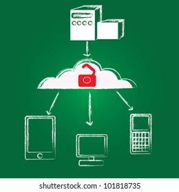 Unlock,cloud computing,Vector