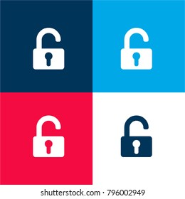 Unlocked padlock four color material and minimal icon logo set in red and blue