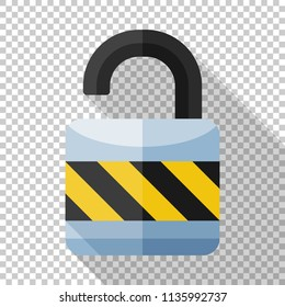 Unlocked padlock icon in flat style with long shadow on transparent background