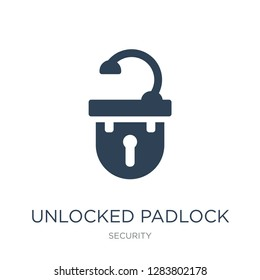 unlocked padlock icon vector on white background, unlocked padlock trendy filled icons from Security collection, unlocked padlock vector illustration