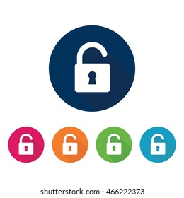Unlocked padlock icon.Vector sign in various colors.
