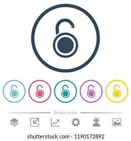 Unlocked round padlock flat color icons in round outlines. 6 bonus icons included.
