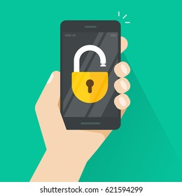 Unlocked smartphone vector illustration, flat style mobile phone with open lock in hand, concept of security, protection technology, authorization process