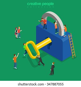 Unlocking lock process flat 3d isometry isometric personal data security decryption login log in entrance concept web vector illustration. Creative technology people collection.