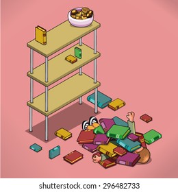 Unlucky man buried underneath a pile of books after an attempt to climb a shelf for a bowl of cookies (isometric view)