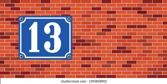 Unlucky number 13 House Row number 13 Accident number Halloween day party Vector fun funny Thirteen lucky number Friday 13th sign sign icons icon symbol Cobweb spider Horror brick wall stone halloween