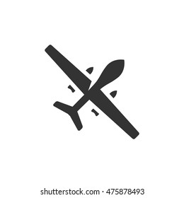 Unmanned aerial vehicle icon in single color. Aviation technology military drone modern warfare