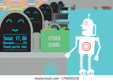 Unmanned future store managing by artificial intelligence and robotic process automation. Retro robot doing shopping.Vector format.