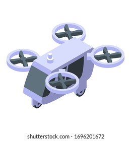 Unmanned taxi drone icon. Isometric of unmanned taxi drone vector icon for web design isolated on white background