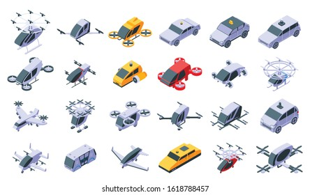 Unmanned taxi icons set. Isometric set of unmanned taxi vector icons for web design isolated on white background