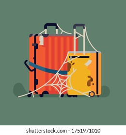 Unneeded luggage suitcases left unused and abandoned for so long that there is a spiderweb on them. Coronavirus pandemic travel ban concept vector illustration