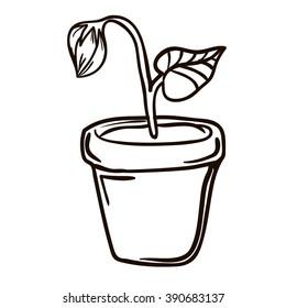 Flower pot cartoon vector illustration black stock vector royalty unopened flower in the pot mightylinksfo