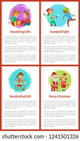 Unpacking gifts, children on winter vacations vector. Merry Christmas, handicraft gifts made by girl. Playing snowball fight, kids having outdoors fun