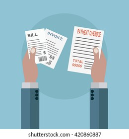 Unpaid bills, payment overdue vector illustration