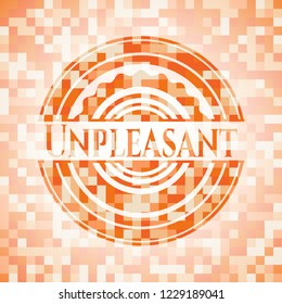 Unpleasant abstract emblem, orange mosaic background