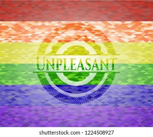 Unpleasant emblem on mosaic background with the colors of the LGBT flag