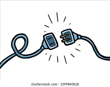 unplug cartoon vector and illustration, black and white, hand drawn, sketch style, isolated on white background.