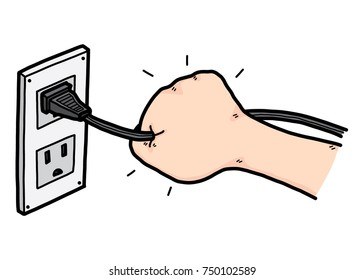 unplugging hand / cartoon vector and illustration, hand drawn style, isolated on white background.