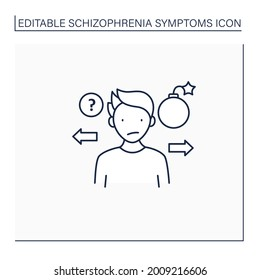 Unpredictable line icon. Strange actions. Aggression outbursts.Schizophrenia symptoms concept. Isolated vector illustration.Editable stroke