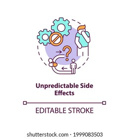 Unpredictable side effects concept icon. Online pharmacy idea thin line illustration. Unregistered pharmacies threats. Getting medicine. Vector isolated outline RGB color drawing. Editable stroke