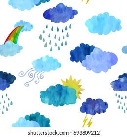 Unpredictable weather. Seamless pattern. Children cartoon style. Watercolour imitation.