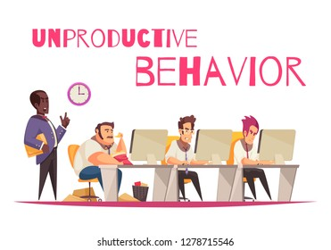 Unproductive behavior concept with overeating and gluttony symbols flat vector illustration