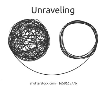 Unraveling the problem. A tangled ball rolling into a coiled cord. Vector illustration similar to a winking smiling emoticon. Psychological metaphor of solving complex problems in business and life.