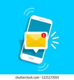 Unread email notification. New message on the smartphone screen. Vector illustration.