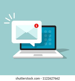 Unread email notification. New message on the laptop screen. Vector illustration.