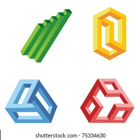 unreal geometrical shapes symbols, vector