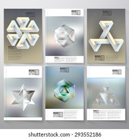 Unreal impossible geometric figures, polygon patterns with reflections. Brochure, flyer or report for vector business templates.