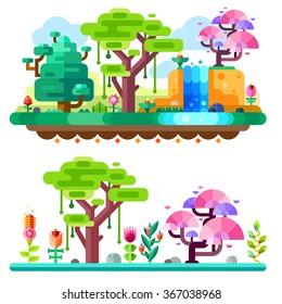 Unreal tropical forest on landscape made with marvelous colors. African jungle. Fairy forrest. Flat vector illustration set.