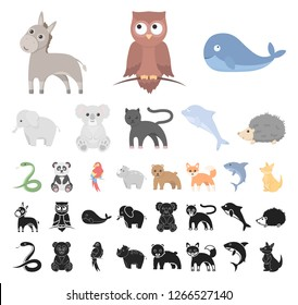 An unrealistic animal cartoon, black icons in set collection for design. Toy animals vector symbol stock web illustration.