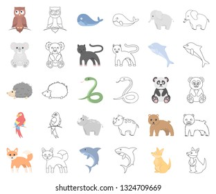 An unrealistic animal cartoon,outline icons in set collection for design. Toy animals vector symbol stock web illustration.