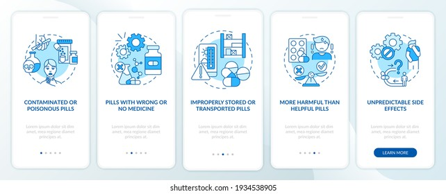 Unregistered pharmacies threats onboarding mobile app page screen with concepts. More harmful than helpful walkthrough 5 steps graphic instructions. UI vector template with RGB color illustrations