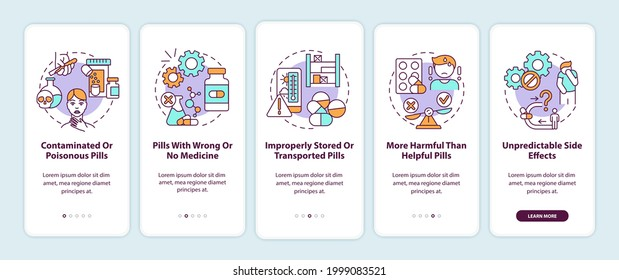 Unregistered pharmacies threats onboarding mobile app page screen with concepts. Contaminated, poisonous pills walkthrough 5 steps graphic instructions. UI vector template with RGB color illustrations