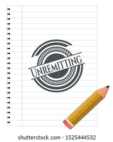 Unremitting emblem drawn in pencil. Vector Illustration. Detailed.