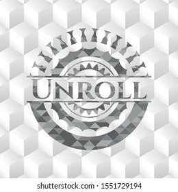 Unroll grey badge with geometric cube white background