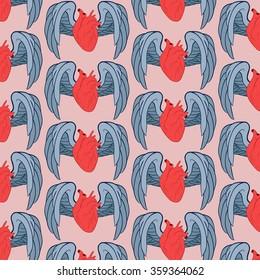 unromantic seamless pattern. card for medical design. realistic heart wing. Romantic design. Symbol, logo illustration. Vintage vector card. Boho style. Love print. Realistic vector illustration