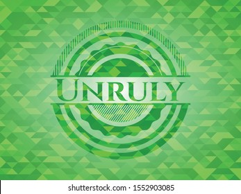 Unruly green emblem with mosaic ecological style background. Vector Illustration. Detailed.