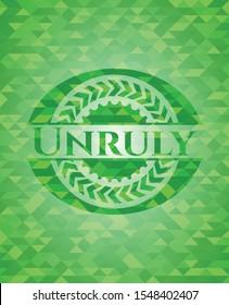 Unruly realistic green mosaic emblem. Vector Illustration. Detailed.