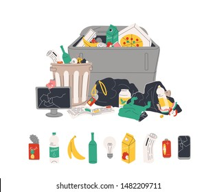 Unsorted garbage in trash containers and bin bags. Plastic, glass, metal, paper, organic waste in dumpster isolated on white background. Rubbish or litter. Flat cartoon colorful vector illustration.