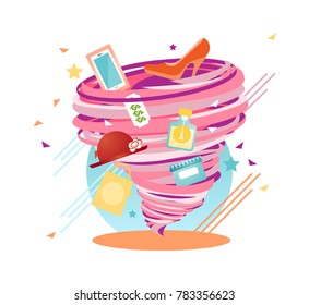Unstoppable Shopping Lust swirl, Addicition Hurricane, vector illustration