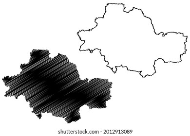 Unstrut-Hainich district (Federal Republic of Germany, rural district, Free State of Thuringia) map vector illustration, scribble sketch Unstrut Hainich Kreis map