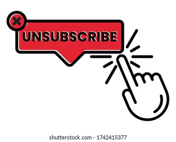 unsubscribe message / mail button - flat icon for the apps or website